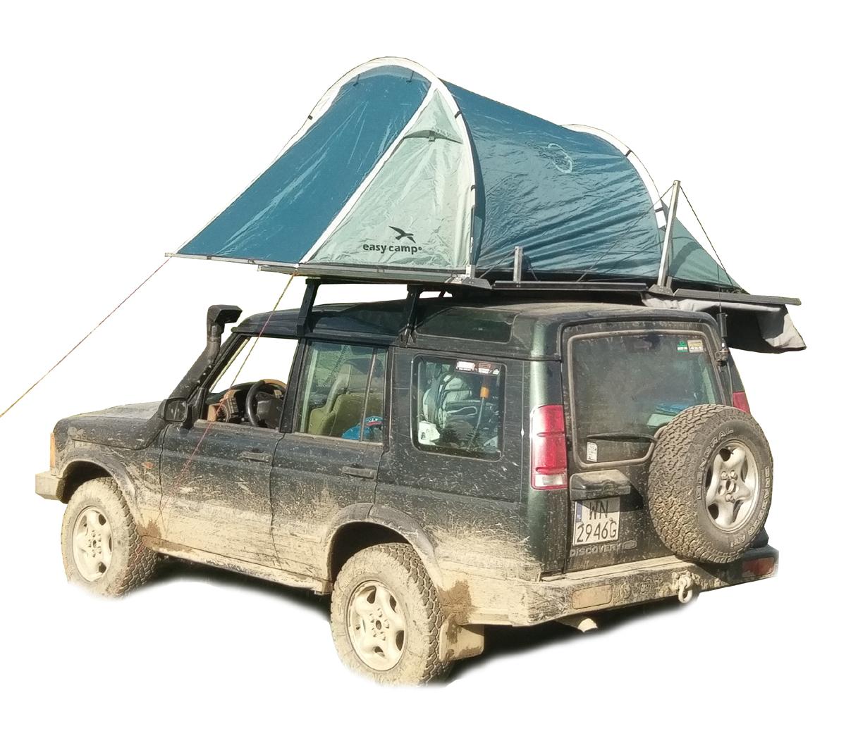 tani namiot dachowy własnej konstrukcji naLand Rover Discovery II