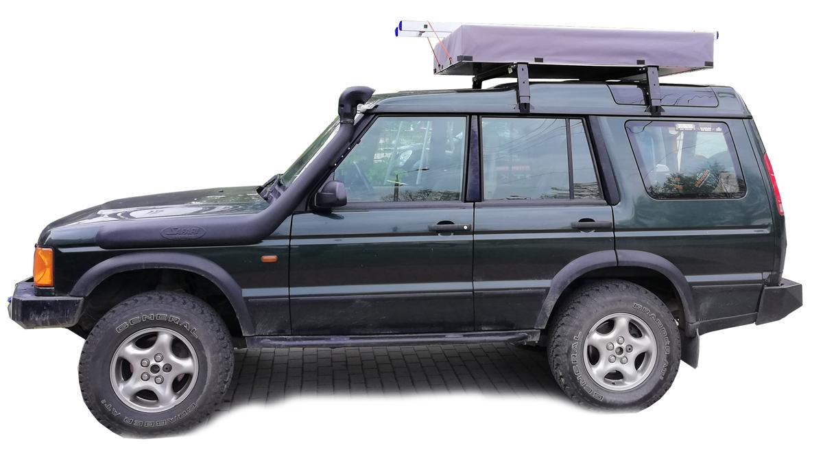 tani namiot dachowy własnej konstrukcji naLand Rover Discovery