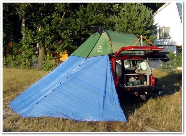 tani namiot dachowy własnej konstrukcji zprzedsionkiem 2