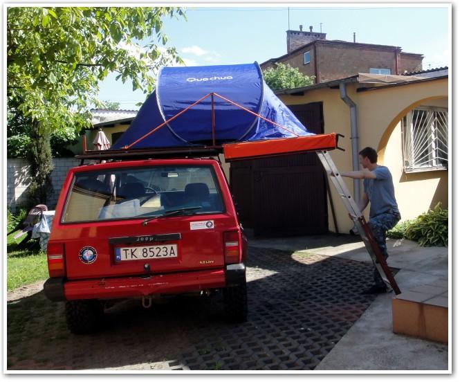 tani namiot dachowy własnej konstrukcji prototyp
