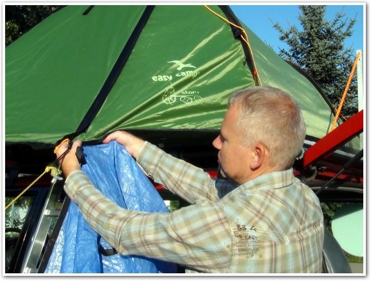 tani namiot dachowy własnej konstrukcji rozkładanie przedsionka 4