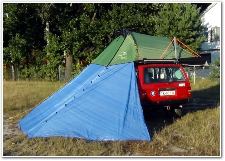 tani namiot dachowy własnej konstrukcji przedsionek 1