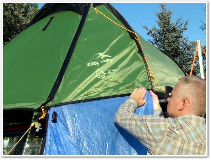tani namiot dachowy własnej konstrukcji rozkładanie przedsionka 5