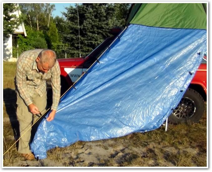tani namiot dachowy własnej konstrukcji rozkładanie przedsionka 7
